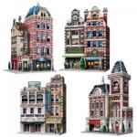 Wrebbit-Set-Urbania-2 Puzzle 3D - Collection Urbania - Café, Cinéma, Hôtel, Caserne de Pompiers